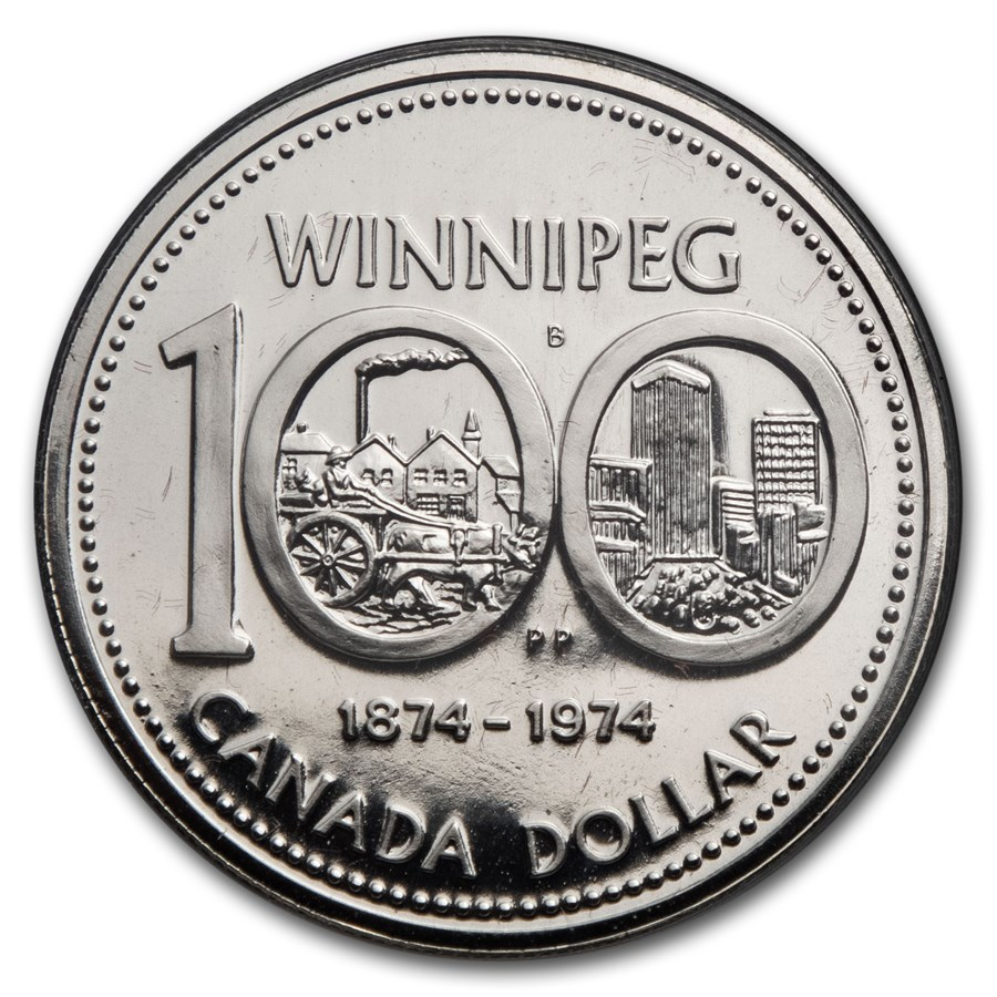 1974 Canada Silver Dollar Specimen (Centennial of Winnipeg w/OGP)