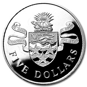1974 Cayman Islands Silver $5 Island Arms Proof