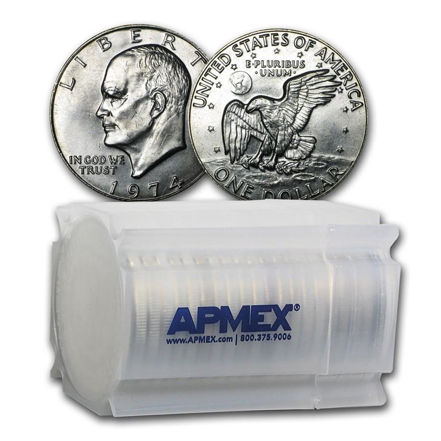1974 Clad Eisenhower Dollars 20-Coin Roll BU