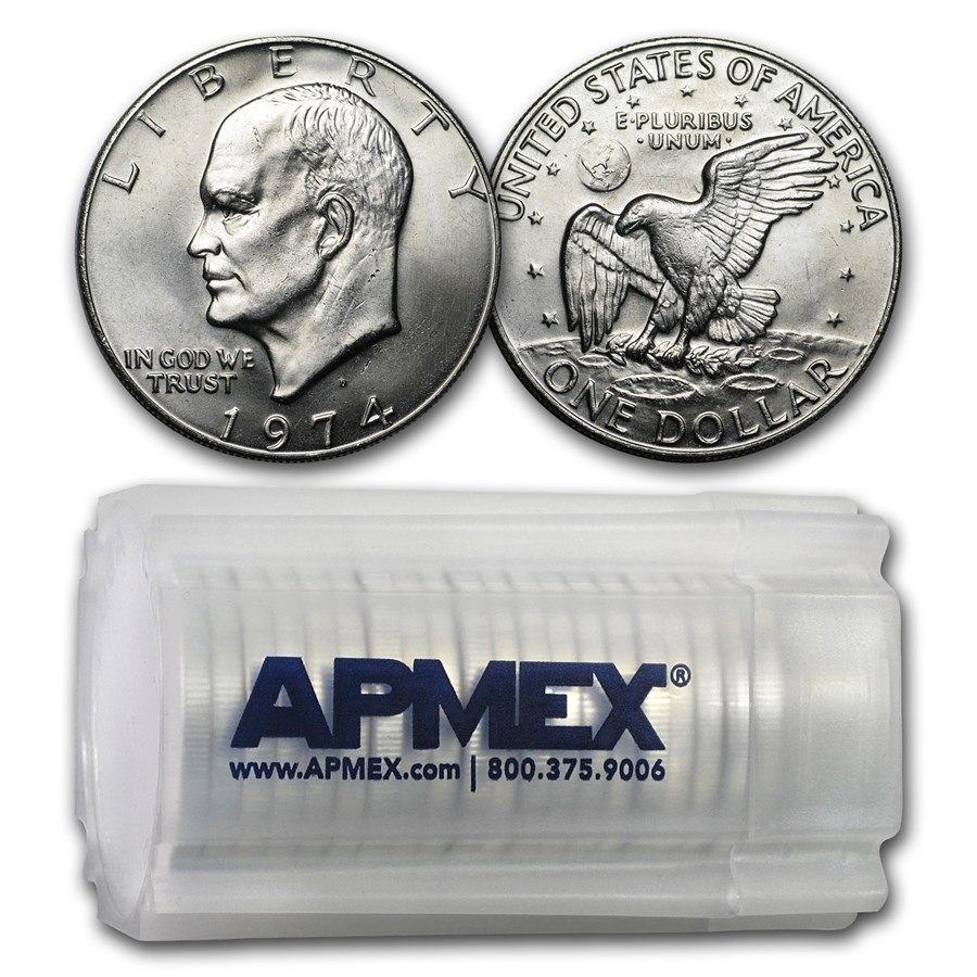 1974-D Clad Eisenhower Dollars 20-Coin Roll BU
