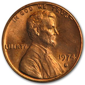 1974-D Lincoln Cent BU (Red)