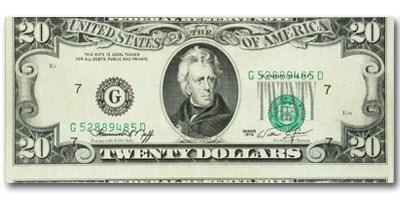 1974 (G-Chicago) $20 FRN CU (Misaligned Error)