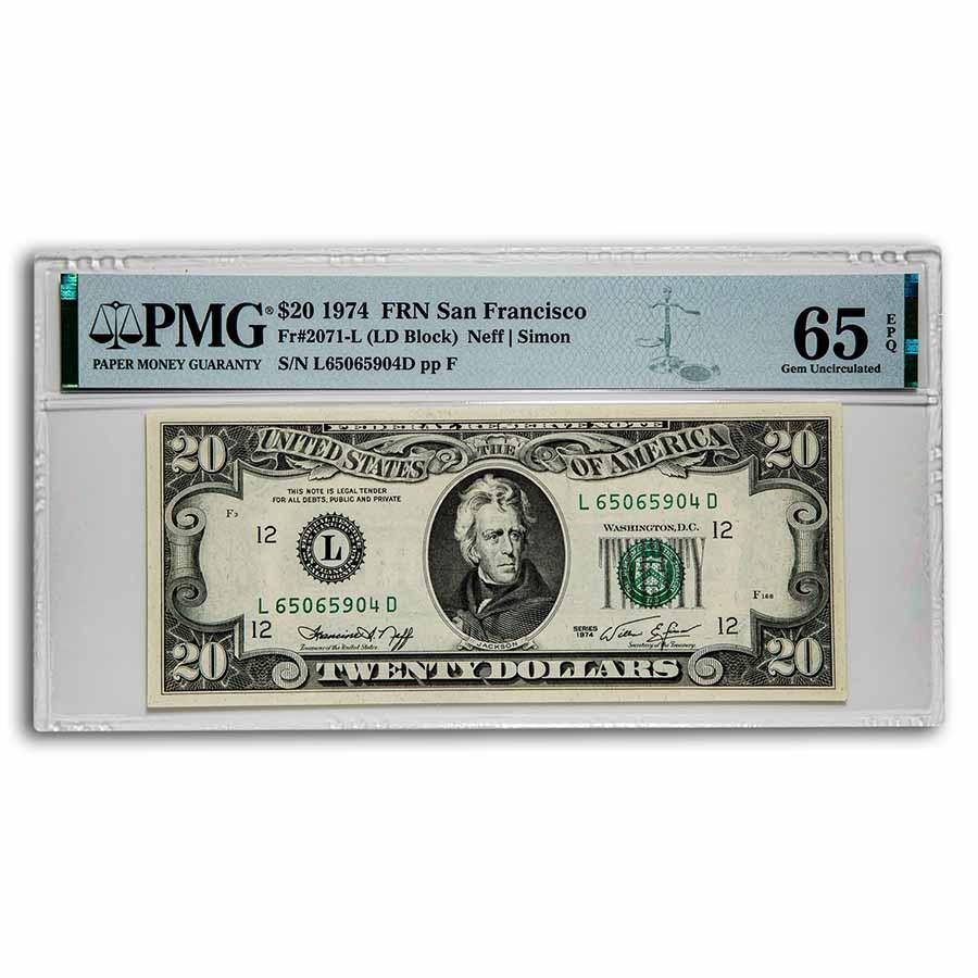 1974 (L-San Francisco) $20 FRN Gem CU-65 EPQ PMG (Fr#2071-L)