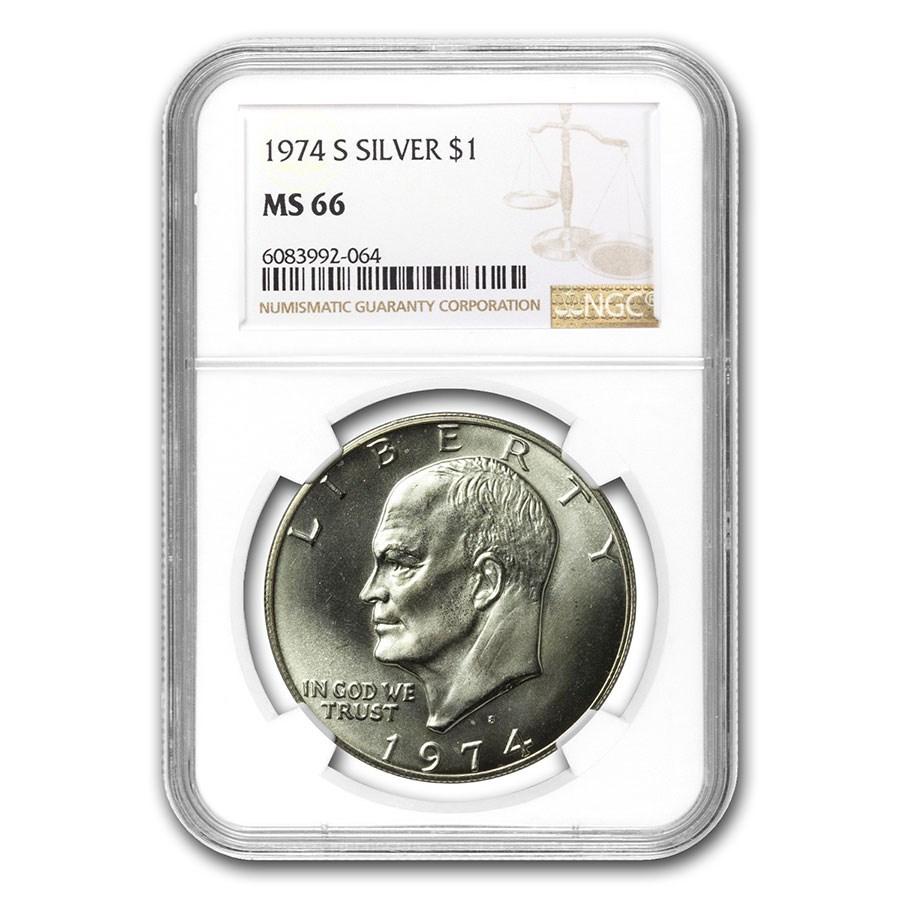 1974-S Eisenhower Silver Dollar MS-66 NGC