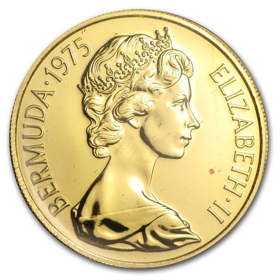 1975 Bermuda Gold $100 Royal Visit BU/Proof
