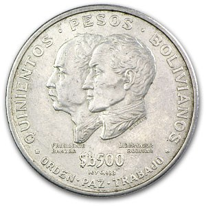 1975 Bolivia Silver 500 Pesos Bolivianos XF