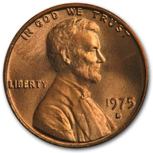 1975-D Lincoln Cent BU (Red)