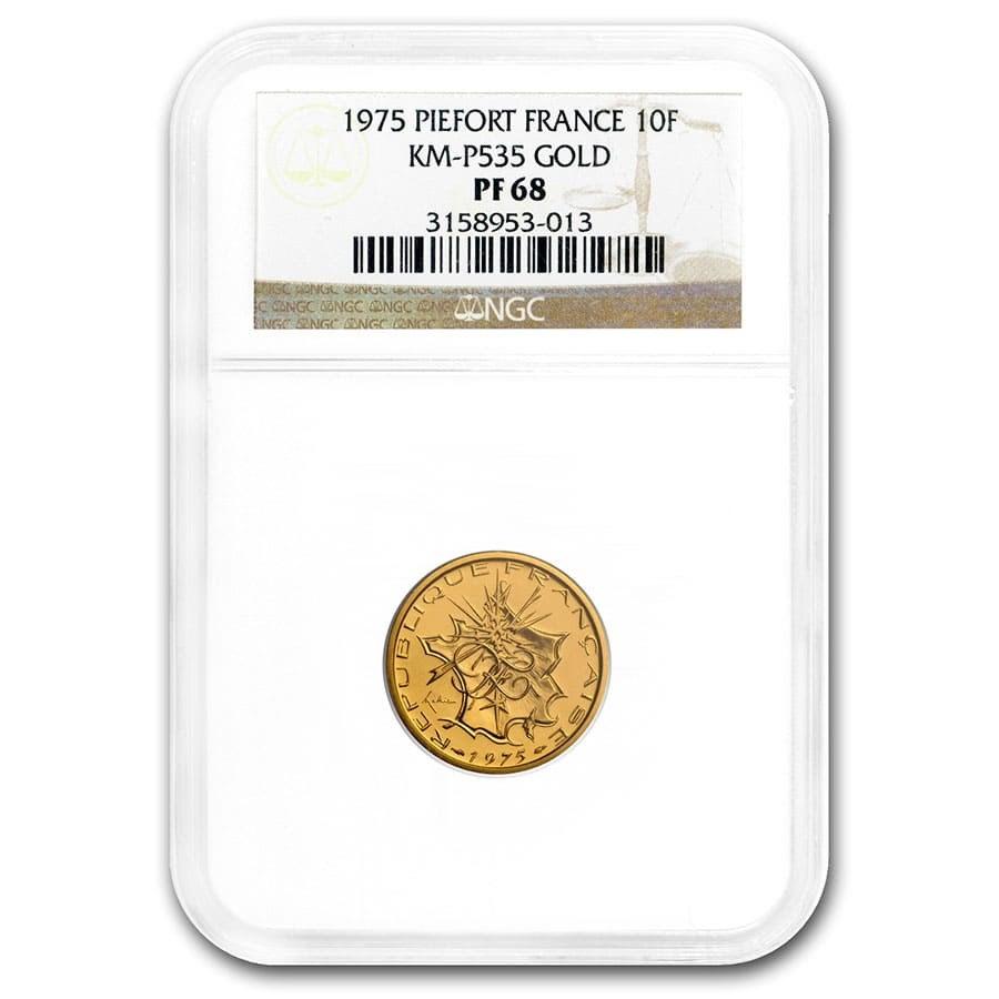 1975 France Gold 10 Francs Piedfort PF-68 NGC