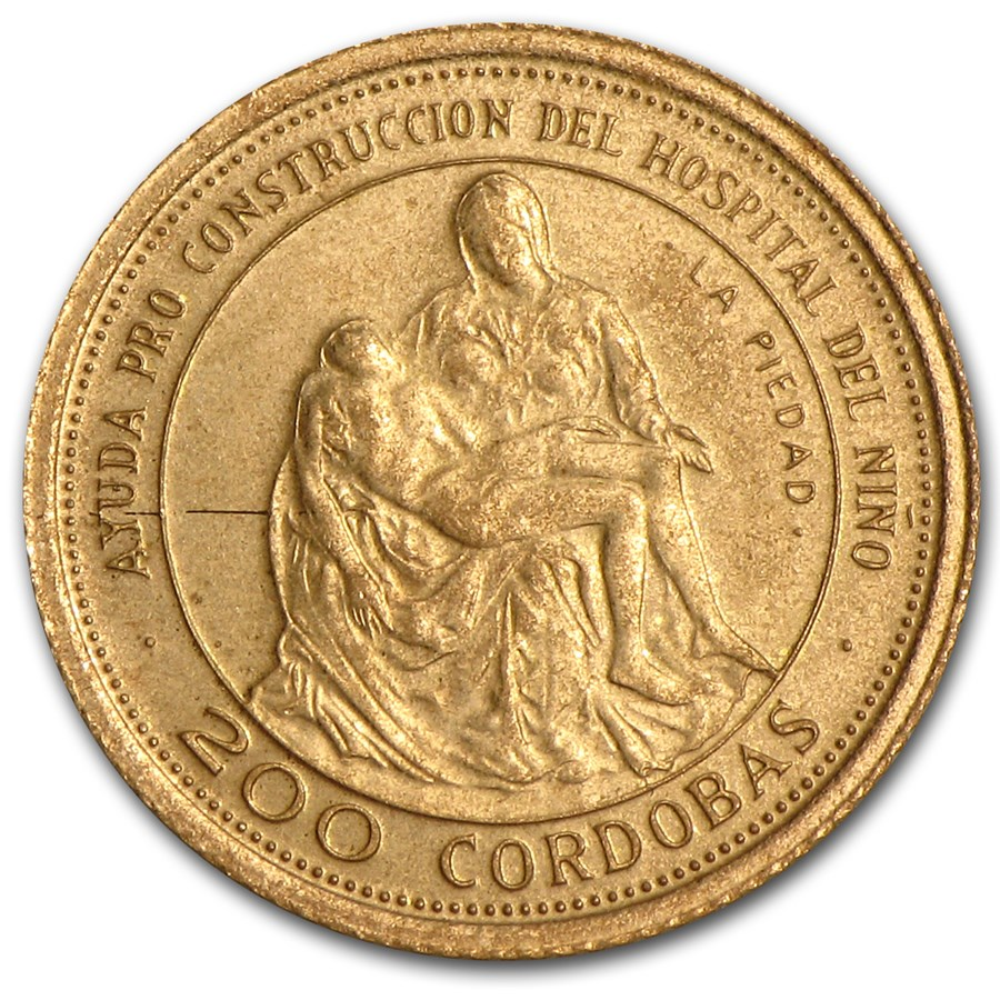 1975 Nicaragua Gold 200 Cordobas Pieta BU