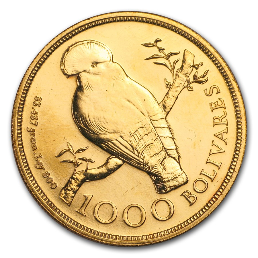 1975 Venezuela Gold 1000 Bolivares Cock of the Rock BU