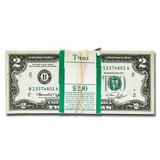 1976 (B-New York) $2.00 FRN CU (Fr#1935-B) 100 Consecutive