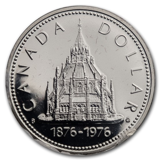 1976 Canada Silver Dollar Specimen (Parliament Library w/OGP)
