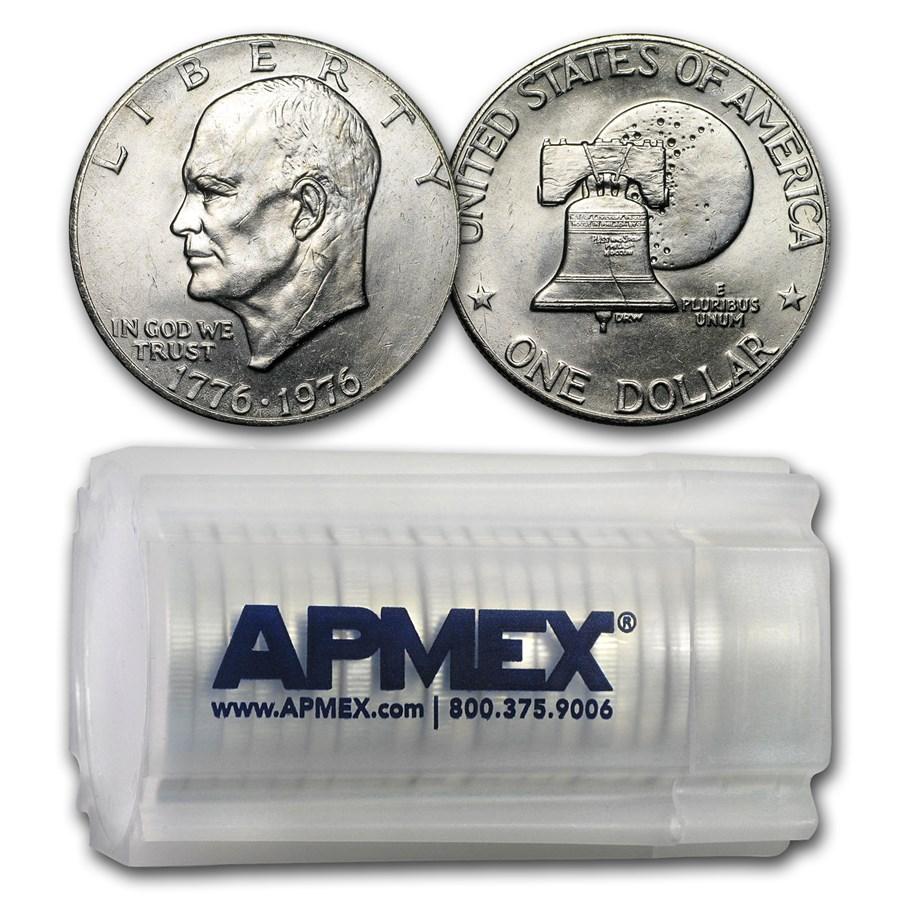 1976 Clad Eisenhower Dollars 20-Coin Roll BU (Type-2)