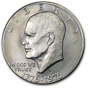 1976-D Clad Eisenhower Dollar MS-63 (Partial Collar Error)