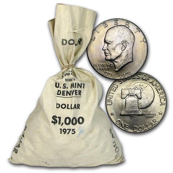 1976-D Clad Eisenhower Dollar Type 2 $1,000 Bag BU