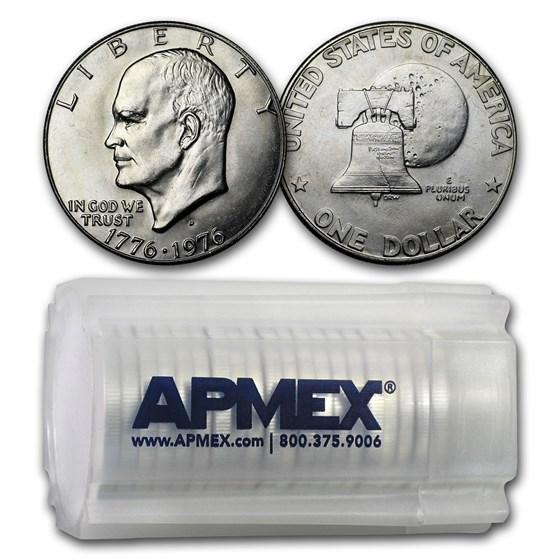 1976-D Clad Eisenhower Dollars 20-Coin Roll BU (Type-1)