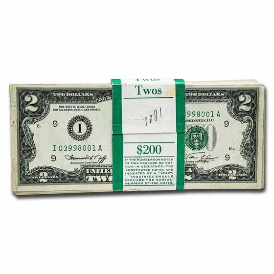 1976 (I-Minneapolis) $2.00 FRN CU(Fr#1935-I) 100 Consecutive