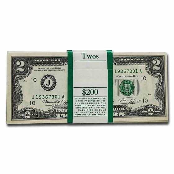 1976 (J-Kansas City) $2.00 FRN CU (Fr#1935-J) 100 Consecutive