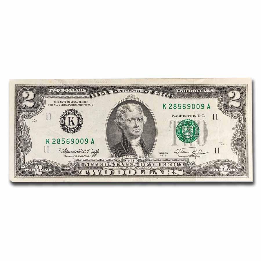 1976 (K-Dallas) $2.00 FRN VF (Fr#1935-K)