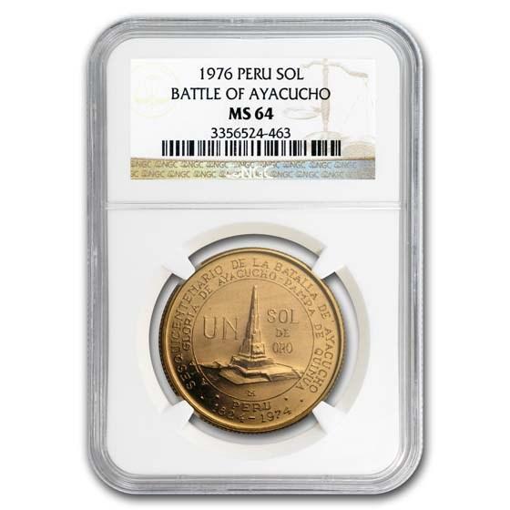 1976 Peru Gold Sol Battle of Ayacucho MS-64 NGC