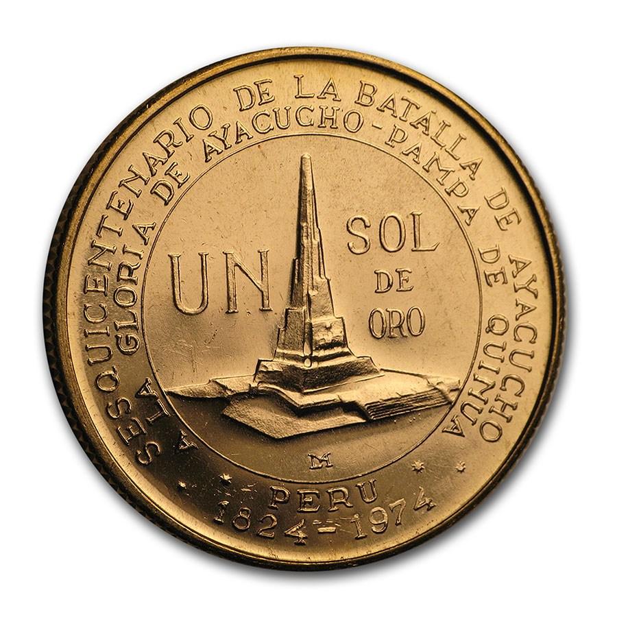 1976 Peru Gold Un Sol Battle of Ayacucho BU