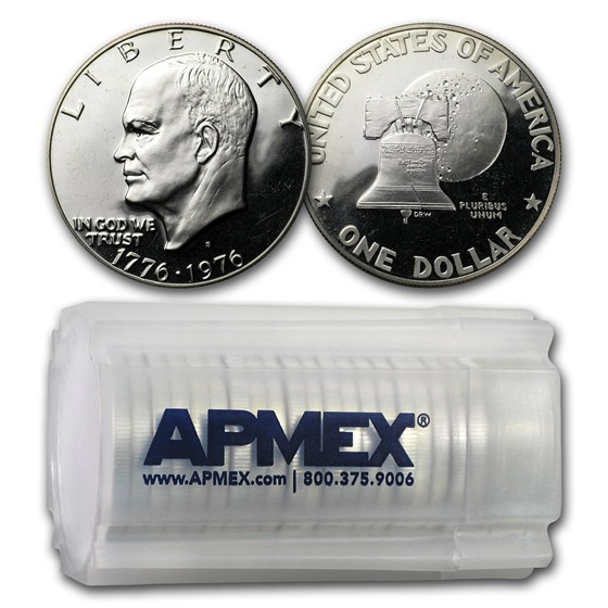 1976-S Clad Eisenhower Dollars 20-Coin Roll Proof (Type-1)
