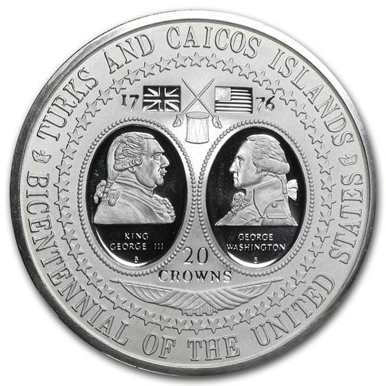 1976 Turks & Caicos Silver 20 Crowns BU