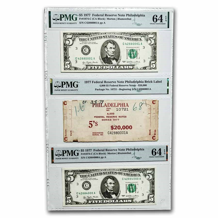 1977 (C-Philadelphia) $5 FRN CU-64 EPQ PMG (Fr#1974-C)1st & Last