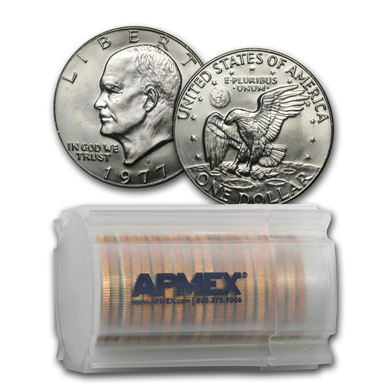 1977-D Clad Eisenhower Dollar 20-Coin Roll BU