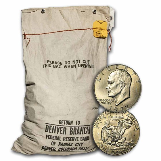 1977-D Clad Eisenhower Dollar Sealed Mint-Sewn $1,000 Bag BU