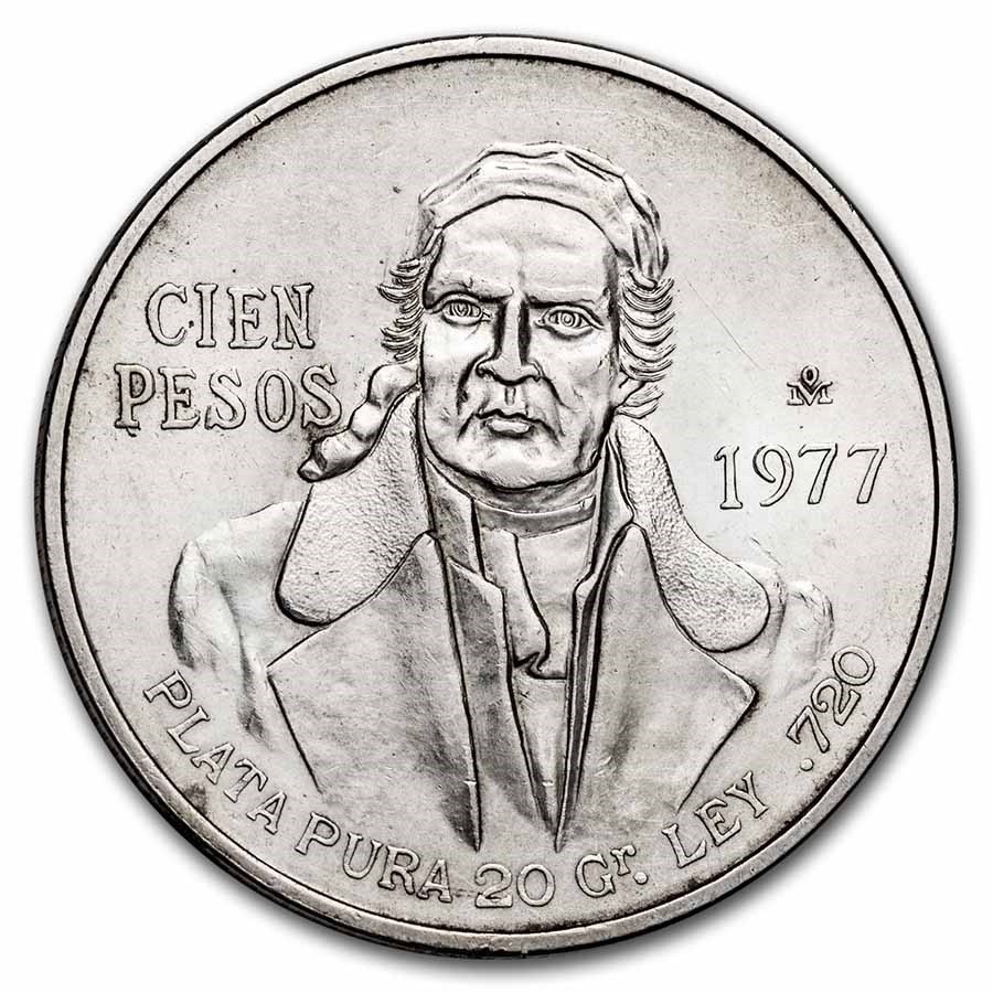 1977 Mexico Silver 100 Pesos BU
