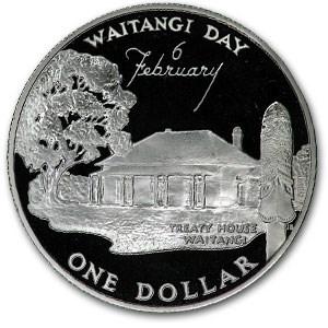1977 New Zealand Silver Dollar Waitangi Day Proof