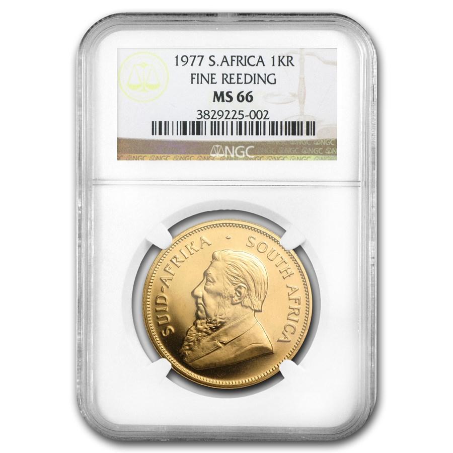 1977 South Africa 1 oz Gold Krugerrand MS-66 NGC (Fine Reeding)