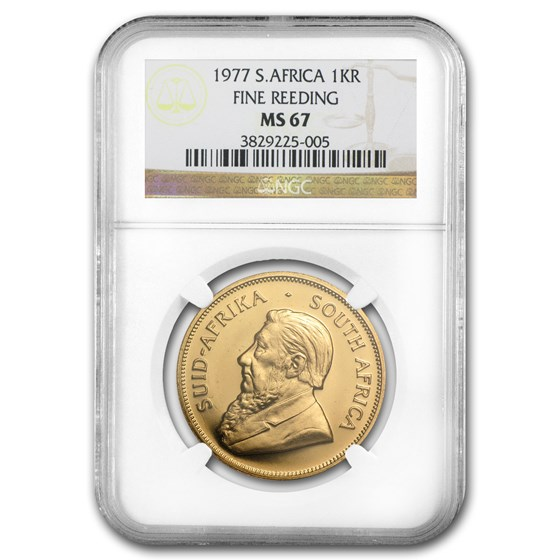 1977 South Africa 1 oz Gold Krugerrand MS-67 NGC (Fine Reeding)