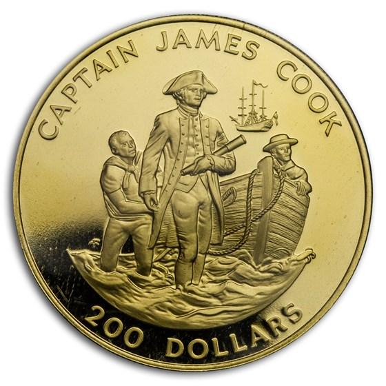 1978 Cook Islands Gold $200 Captain James Cook Proof