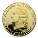 1978 Cook Islands Gold $250 Captain James Cook Proof