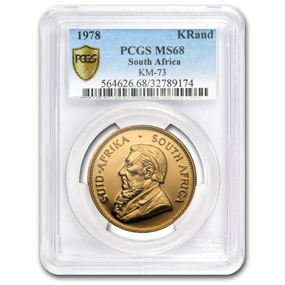 1978 South Africa 1 oz Gold Krugerrand MS-68 PCGS