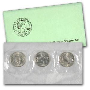 1979 3-Coin Souvenir SBA Dollar Set BU (Error)