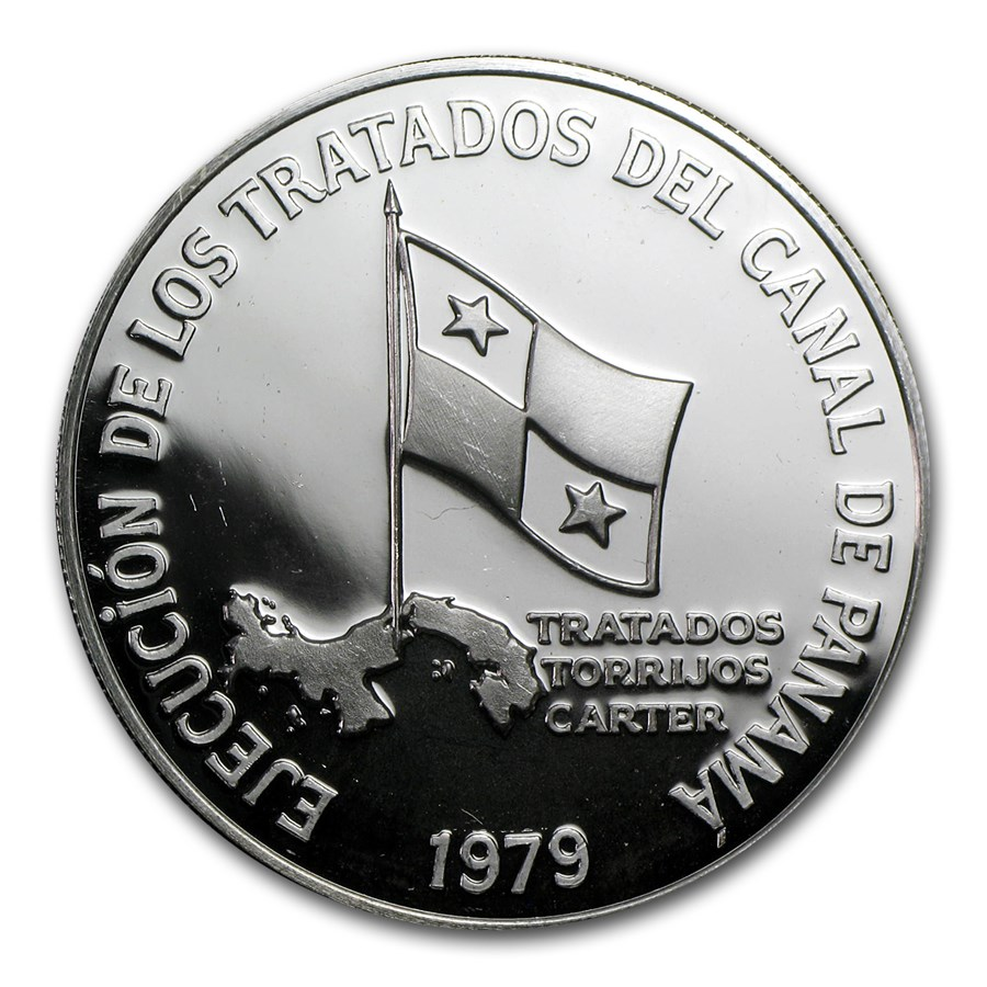 1979 Panama Silver 5 Balboas Panama Canal Proof
