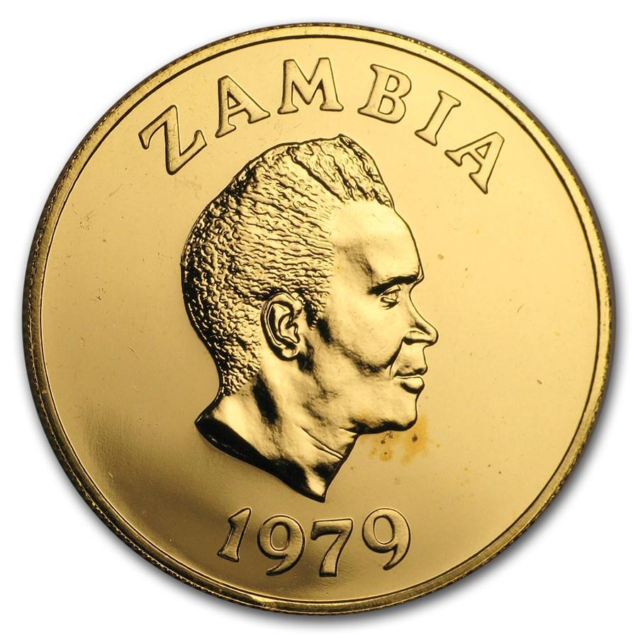 1979 Zambia Gold 250 Kwacha Conservation Series BU
