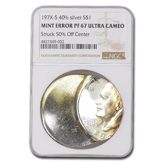 197X-S Eisenhower Dollar PF-67 UCAM NGC (Struck 50% Off Center)