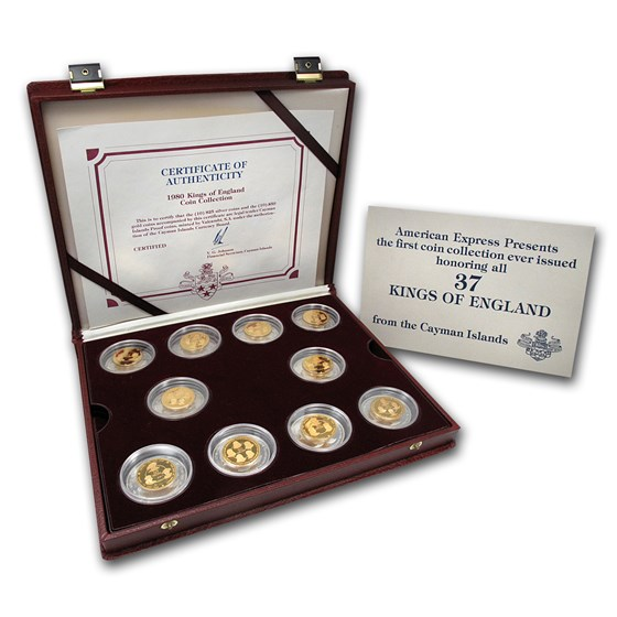 1980 Cayman Islands 20-Coin Gold/Silver Kings of England Prf Set