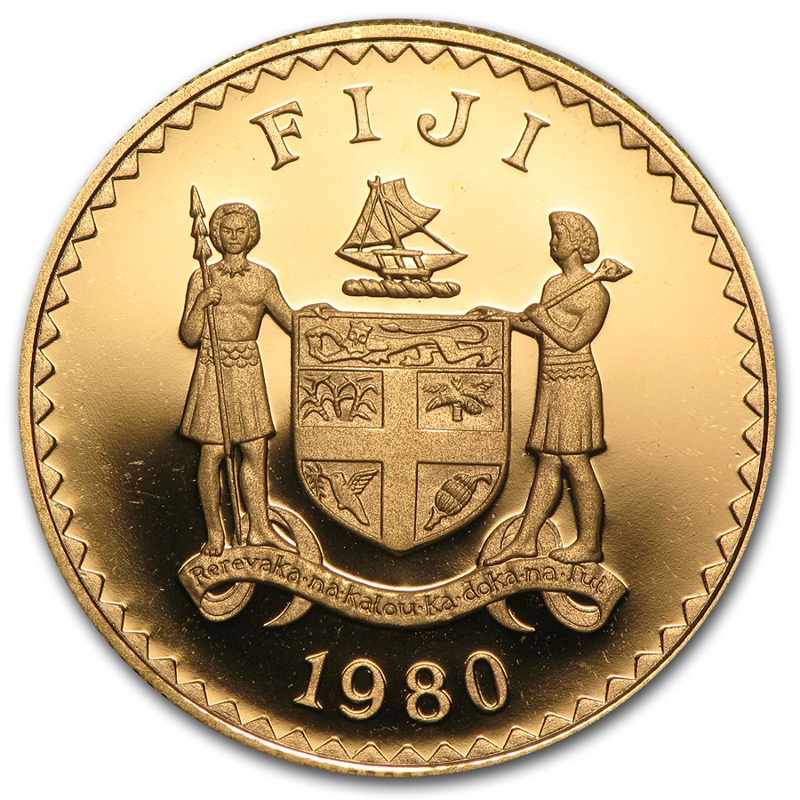 1980 Fiji Proof Gold $200 Prince Charles (AGW .4711)