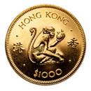 1980 Hong Kong Gold $1000 Year of the Monkey BU