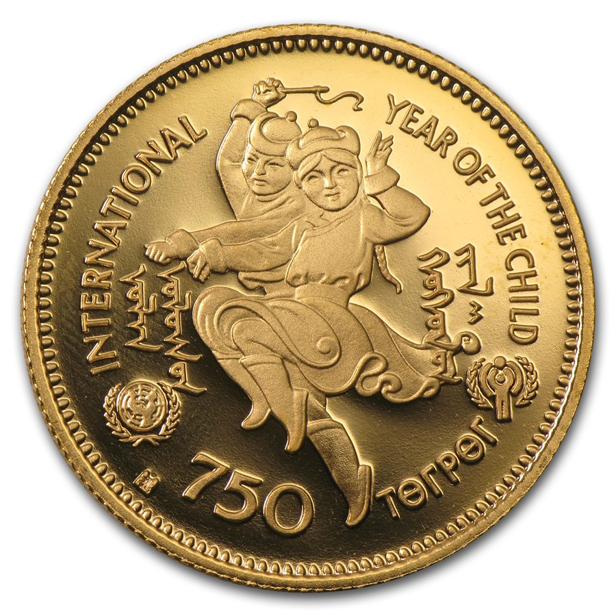 1980 Mongolia Proof Gold 750 Tugrik Year of Child