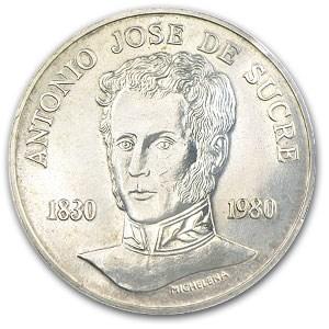 1980 Venezuela Silver 75 Bolivares Death of Sucre BU