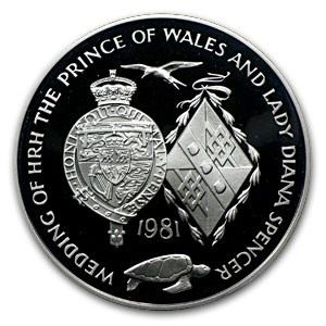 1981 Ascension Silver 25 Pence Royal Wedding Proof