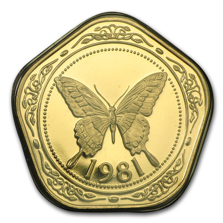 1981 Belize Proof Gold 100 Dollars Yellow Swallowtail Butterfly