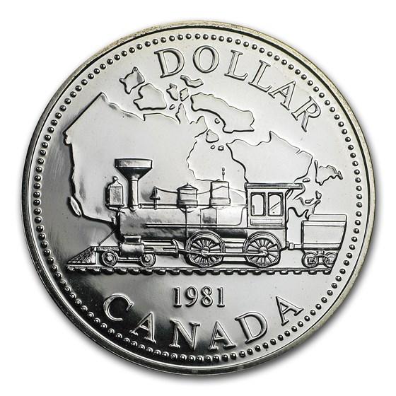 1981 Canada Silver Dollar BU (Transcontinental Railroad)
