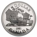 1981 Canada Silver Dollar Proof (Transcontinental Railroad w/OGP)